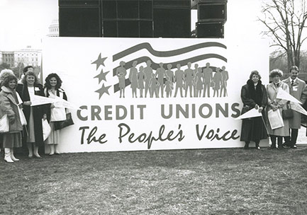 Sign reading Credit Unions: The People's Voice