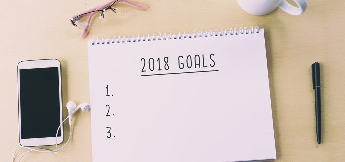 2018 goals on notepad