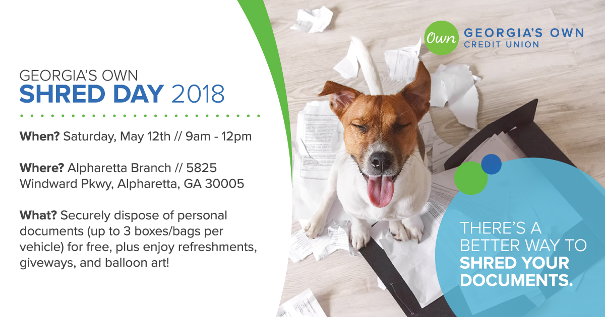 Alpharetta Shred Day Set for May 12, 2018 - Georgia's Own Credit Union